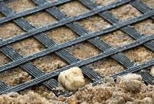 geogrids geosynthetics are used for drainage filtration, civil enginnering applications, erosion control - Image